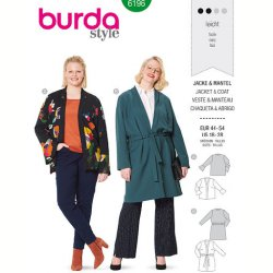 Burda 6196 Jassen van Viscose, Crepe of Satijn