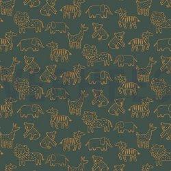 LET OP PRESALE Soft Sweat Gots Happy Animals 08066V Groen 012