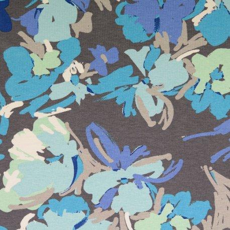 LET OP PRESALE Tricot Jersey van Viscose met bloem 133425 0012