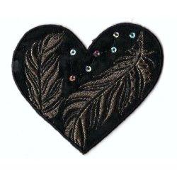 Applicatie Hart zwart met bronzen veren