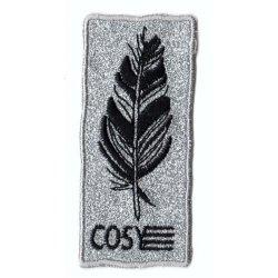 Applicatie COSY met veer glitter zilver