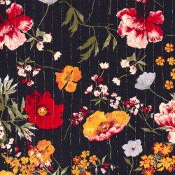 Viscose crepe bloemen 15165 blauw 008
