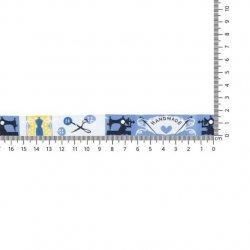 GEWEVEN BAND HANDMADE 17MM 67467-02 Blauw, Geel