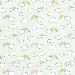 Poplin Regenboog en Wolken  15792 Mint 021