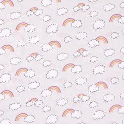 Poplin Regenboog en Wolken  15792 grijs 061