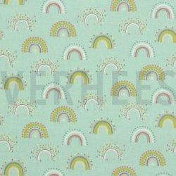 Flannel Katoen Regenboog 08803 mint 007