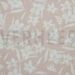 Linnen Viscose Gewassen bloemen 08289V Roze 006