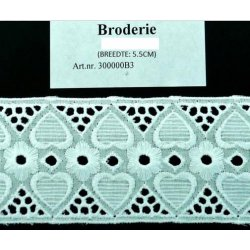 B-3 Broderie wit - 50mm breed