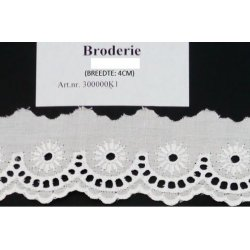 K-1 Broderie glans wit - 40mm breed