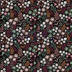 Poplin Brushed Bloemen 08799V zwart 008