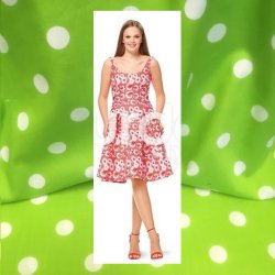 Stof voor jurk model A van Burda 6536 Katoen met Grote Stippen 115295  groen