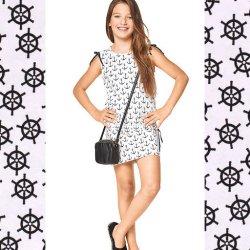 Stof voor jurkje model A van Burda 9344 Tricot van Katoen Maritiem 15663 ecru 051