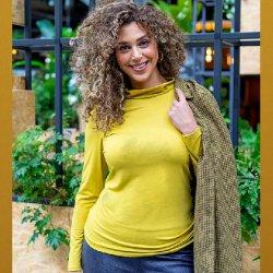 Stof voor shirt model S1101 uit My Image herfst winter 2021 art Tricot/Jersey Viscose Elastan Uni 02194 Oker 534