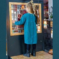 Stof voor jurkje model B2166 uit BTrendy herfst winter 2021 art Baby Katoen Hydrofiel 03001 Petrol 024