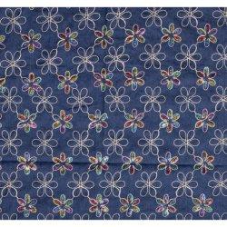 Denim stretch met pailletten in regenboogkleuren 11642 blauw 003