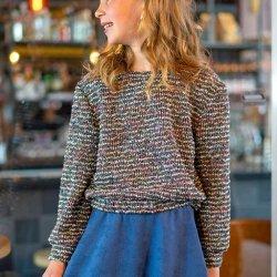 Stof voor Sweater model B2157 uit BTrendy herfst winter 2021 art  Boucle Strepen 16211 groen 021
