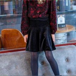Stof voor rok model P1111 uit BTrendy herfst winter 2021 art Fluweel Stof Effen Rib 16033 Zwart 069