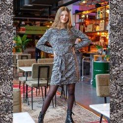 LET OP PRE-ORDER Pakket jurk model D2154 uit Miss Doodle herfst winter 2021 art Viscose Stof Discharge Bloemen 16165 grijs 067