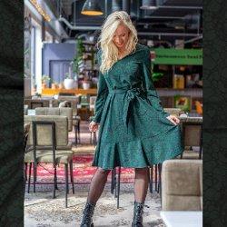 LET OP PRE-ORDER Pakket jurk model D2158 uit Miss Doodle herfst winter 2021 art  Crepe Stof Stretch Abstract 16299 groen 028