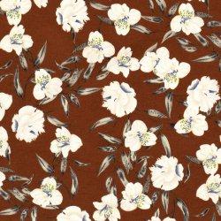 Crepe Stretch Bloemen 16297 Brique 057