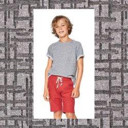 Stof voor shirt model C van Burda 9346 Gebreid Jacquard 14079 Grijs 051