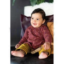 Stof voor Baby Tunic model P2120 uit Poppy Double Gauze Gots Sunshines 08854V Rouge 014
