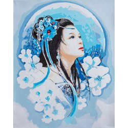 PAINT BY NUMBER KIT ASIAN LADY IN BLUE PN-0195429
