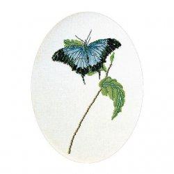 Thea G.Vlinder blauw op Aida of Linnen