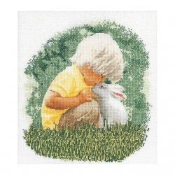 Thea G.Jongetje met konijn op aida of linnen
