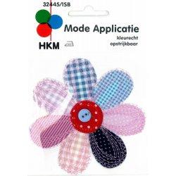 Applic. Grote bloem, blauw-roze, met knop