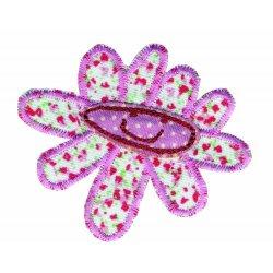 Applicatie button bloem gezicht roze
