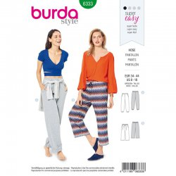Burda 6333 Broeken van Jersey, Tricot of Jogging. Super Easy