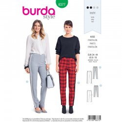 Burda 6377 Broeken met stretch Gabardine, Satijn of Wol