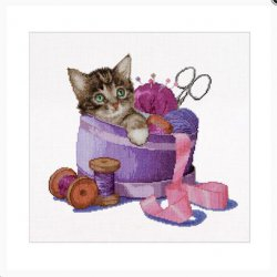 Thea Gouverneur Sewing Basket Kitten op Aida