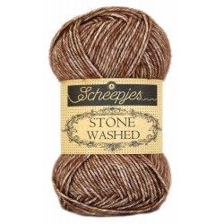 Stone Washed. Pendikte 3-3,5 mm. Kleur 822. Brown Agate.  Scheepjeswol.