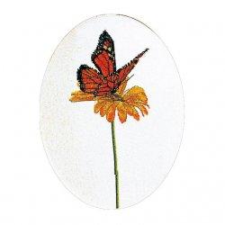 Thea G.Vlinder Orange op Aida of Linnen