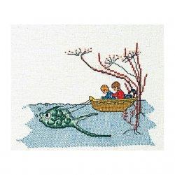 Thea G.Bootje met vis op aida of linnen