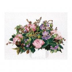 Thea G.Bouquet Pioenen op Aida of Linnen