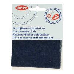 Opry Reparatiedoek jeans opstrijkbaar 10x40cm donkerblauw